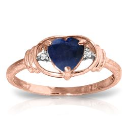 ALARRI 1.01 CTW 14K Solid Rose Gold Glory Sapphire Diamond Ring