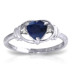 ALARRI 1.01 CTW 14K Solid White Gold Tender Concern Sapphire Diamond Ring