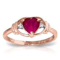 ALARRI 1.01 Carat 14K Solid Rose Gold Glory Ruby Diamond Ring