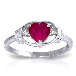 ALARRI 1.01 Carat 14K Solid White Gold Unnecessary Battle Ruby Diamond Ring