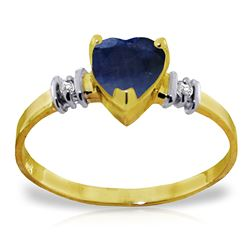 ALARRI 1.03 Carat 14K Solid Gold Ring Natural Sapphire Diamond