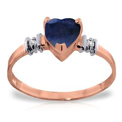 ALARRI 14K Solid Rose Gold Ring w/ Natural Sapphire & Diamonds