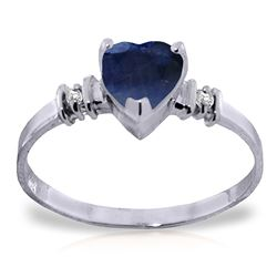 ALARRI 1.03 Carat 14K Solid White Gold Ring Natural Sapphire Diamond