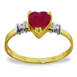 ALARRI 1.03 Carat 14K Solid Gold Ring Natural Ruby Diamond