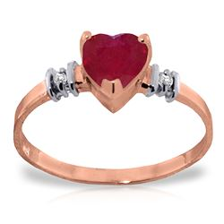 ALARRI 14K Solid Rose Gold Ring w/ Natural Ruby & Diamonds