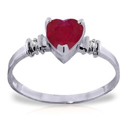 ALARRI 1.03 Carat 14K Solid White Gold Ring Natural Ruby Diamond