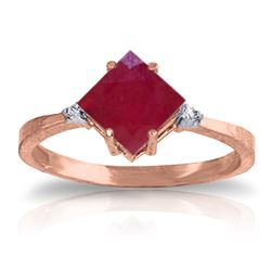 ALARRI 1.46 CTW 14K Solid Rose Gold Espirit Ruby Diamond Ring
