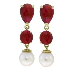 ALARRI 10.1 Carat 14K Solid Gold Chandelier Earrings Ruby Pearl