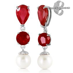 ALARRI 10.1 Carat 14K Solid White Gold Chandelier Earrings Ruby Pearl