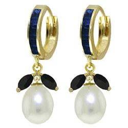 ALARRI 10.3 Carat 14K Solid Gold Majorca Sapphire Pearl Earrings
