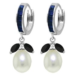 ALARRI 10.3 CTW 14K Solid White Gold Speak To Angels Sapphire Pearl Earrings