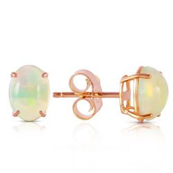 ALARRI 14K Solid Rose Gold Stud Earrings w/ Natural Opals