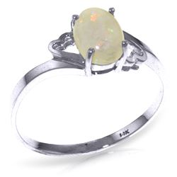 ALARRI 0.45 CTW 14K Solid White Gold Boundless Heart Opal Ring