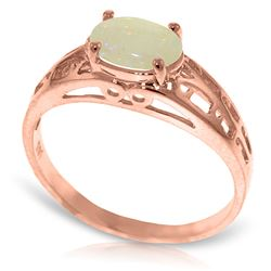 ALARRI 14K Solid Rose Gold Filigree Ring w/ Natural Opal