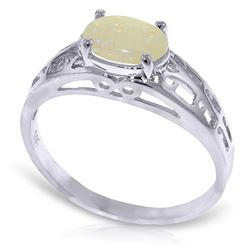 ALARRI 0.45 Carat 14K Solid White Gold Filigree Ring Natural Opal