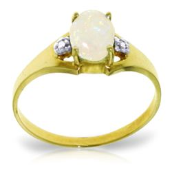 ALARRI 0.46 CTW 14K Solid Gold Rings Natural Diamond Opal