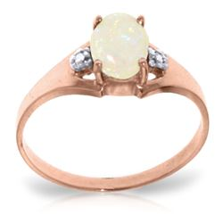 ALARRI 0.46 Carat 14K Solid Rose Gold Rings Natural Diamond Opal