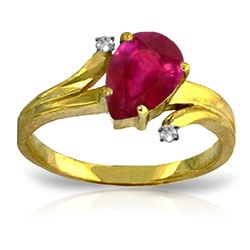 ALARRI 1.51 Carat 14K Solid Gold Have And Hold Ruby Diamond Ring