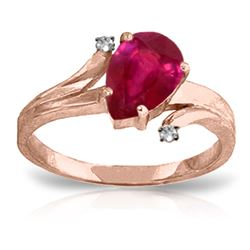 ALARRI 1.51 Carat 14K Solid Rose Gold Lovelight Ruby Diamond Ring