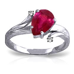 ALARRI 1.51 Carat 14K Solid White Gold Healing Power Ruby Diamond Ring