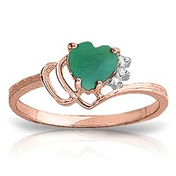 ALARRI 1.02 Carat 14K Solid Rose Gold Dainty Heart Emerald Diamond Ring