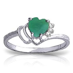 ALARRI 1.02 CTW 14K Solid White Gold Release The Heart Emerald Diamond Ring