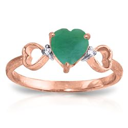 ALARRI 1.01 Carat 14K Solid Rose Gold Tri Heart Emerald Diamond Ring