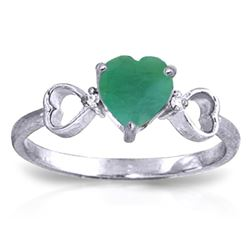 ALARRI 1.01 CTW 14K Solid White Gold See The Bravery Emerald Diamond Ring