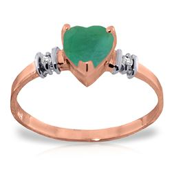 ALARRI 14K Solid Rose Gold Ring w/ Natural Emerald & Diamonds
