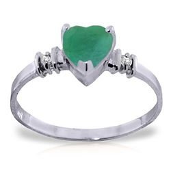 ALARRI 1.03 Carat 14K Solid White Gold Ring Natural Emerald Diamond