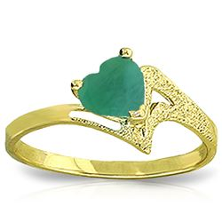 ALARRI 1 Carat 14K Solid Gold Recognize The Love Emerald Ring