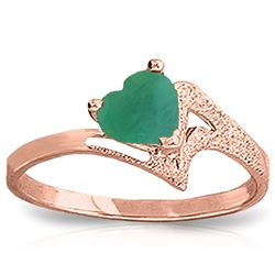 ALARRI 1 Carat 14K Solid Rose Gold Ring Natural Emerald