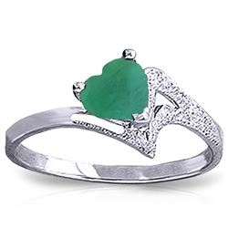 ALARRI 1 Carat 14K Solid White Gold River Thames Emerald Ring