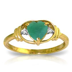 ALARRI 1.01 CTW 14K Solid Gold Evocative Memories Emerald Diamond Ring