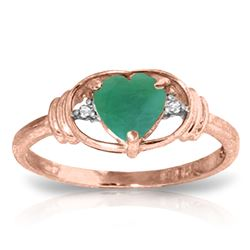 ALARRI 1.01 Carat 14K Solid Rose Gold Glory Emerald Diamond Ring