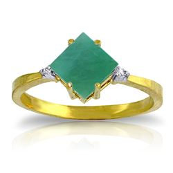 ALARRI 1.46 Carat 14K Solid Gold Love In A Frame Emerald Diamond Ring
