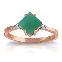 ALARRI 1.46 Carat 14K Solid Rose Gold Espirit Emerald Diamond Ring