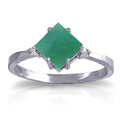 ALARRI 1.46 Carat 14K Solid White Gold Emerald Lake Emerald Diamond Ring