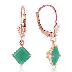 ALARRI 14K Solid Rose Gold Leverback Earrings w/ Natural Emerald