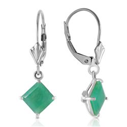 ALARRI 2.9 Carat 14K Solid White Gold Smooth Talk Emerald Earrings