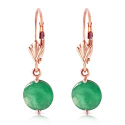 ALARRI 14K Solid Rose Gold Leverback Earrings w/ Emeralds