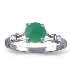 ALARRI 0.62 Carat 14K Solid White Gold River Beauty Emerald Diamond Ring