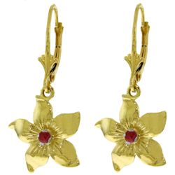 ALARRI 0.2 CTW 14K Solid Gold Leverback Flowers Earrings Ruby