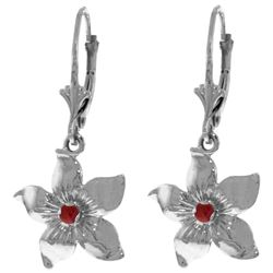 ALARRI 0.2 Carat 14K Solid White Gold Leverback Flowers Earrings Ruby