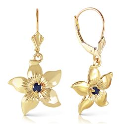 ALARRI 0.2 Carat 14K Solid Gold Leverback Flowers Earrings Sapphire
