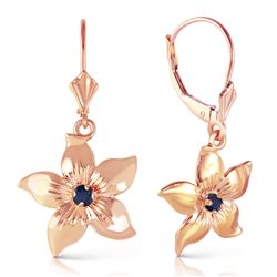 ALARRI 14K Solid Rose Gold Leverback Flowers Earrings w/ Sapphires