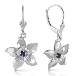 ALARRI 0.2 CTW 14K Solid White Gold Leverback Flowers Earrings Sapphire