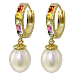 ALARRI 9.3 Carat 14K Solid Gold Fusion Sapphire Pearl Earrings