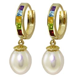 ALARRI 9 Carat 14K Solid Gold Prestige Multi Gemstones Pearl Earrings