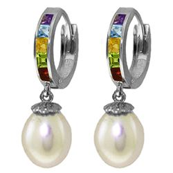 ALARRI 9 Carat 14K Solid White Gold Perfect Match Multi Gemstones Earrings
